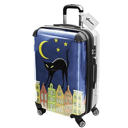 Gatti Gatto Nero, Luggage Valigia Bagaglio Ultraleggero Trasportabile Rigido con 4 Route e Disegno Intercambiabile. Dimensione: Grande, L
