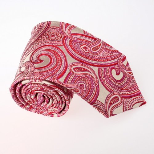 Red Paisley Woven Silk Tie Gift Box Set Crimson Valentines Day T8077