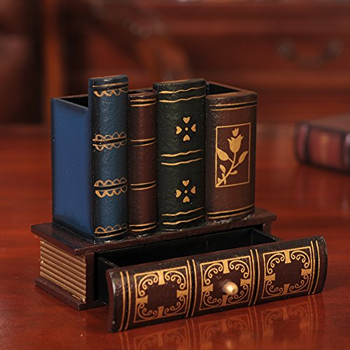 YOURNELO Antique Books Pen Pencil Holder Desk Organizer with Drawer Elegant Desk Accessories