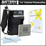 Battery And Charger Kit For Canon PowerShot ELPH 310 HS ELPH 300 HS ELPH 100 HS Digital Camera Includes Extended (900 Mah) Replacement Battery For Canon NB-4L + AC / DC Rapid Travel Charger + LCD Screen Protectors + MicroFiber Cleaning Cloth