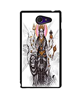Fuson Premium Maa Devi Metal Printed with Hard Plastic Back Case Cover for Sony Xperia M2