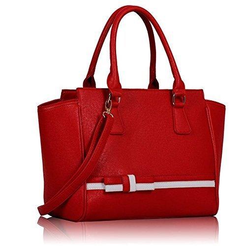 Ladies Red White Handbag Bow Tie Long Strap Shoulder Bag Kcmode