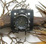 BIKER 3 INCH WIDE AGED BLACK LEATHER WATCHBAND, WRISTBAND