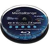 MediaRange MR509 Lot de 10 BD-R DL 50 Go, vitesse 6 x