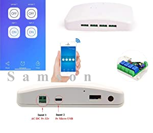 Samson 4 Channel wifi relay 5V - 32v Smart Home WiFi Inching Self-Locking Interlock Relay Delay Switch Module Remote Control Compatible with Google home Alexa Echo Nest IFTTT(with Case)