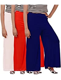 Flavia Creation Women's Rayon Plazo- Combo Pack Of 3 White, Blue And Red