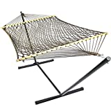 Sunnydaze Mocha Caribbean XL Rope Hammock with Spreader Bars and Stand Combo, 130 Inch Long x 55 Inch Wide
