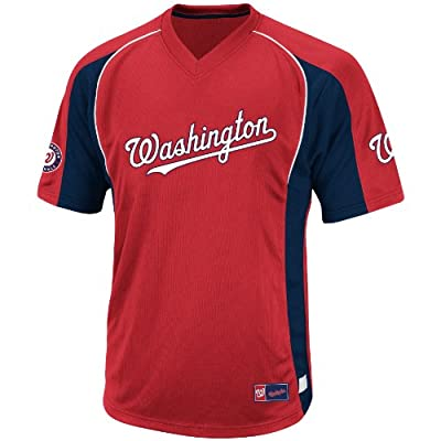 MLB Washington Nationals Men's True Winner Crew Polo, Red/Navy, XX-Large