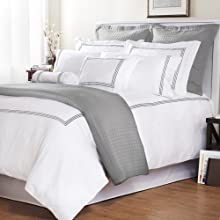 Roxbury Park Baratto Duvet Set King with Tripple Platinum Embroidered Stripes