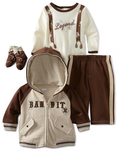 Vitamins Baby-Boys Newborn 3 Piece Creeper Pant Set Bandit, Brown, 9M