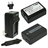 Wasabi Power Battery (2-Pack) and Charger for Sony NP-FW50, BC-VW1, BC-TRW and Sony Alpha a7, a7 II, a7R, a7R II, a7S, a7S II, a3000, a5000, a5100, a6000, ILCE-QX1, NEX-3, NEX-3N, NEX-5, NEX-5N, NEX-5R, NEX-5T, NEX-6, NEX-7, NEX-C3, NEX-F3, SLT-A33, SLT-A35, SLT-A37, SLT-A55V, Cyber-shot DSC-RX10, RX10 II