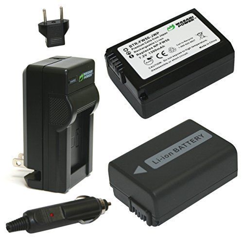 Wasabi Power Battery (2-Pack) and Charger for Sony NP-FW50 (Sony Nex 5 Battery compare prices)