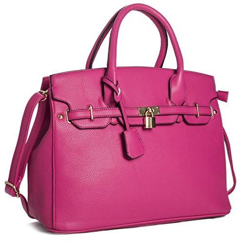 Big Handbag Shop Womens Faux Leather Designer Inspired Tote Shoulder Bag