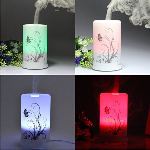 100Ml Aromatherapy Essential Oil Purifier Diffuser Air Humidifier With 4 Timer Settings & Colors Changing Light (Dandelion Pattern)