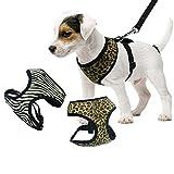 Sommer Atmungsaktives Hundegeschirr Brustgeschirr Sicherheitsweste Hunde Pet Control Gurt Weste Safety Weste aus Baumwolle Leopard M