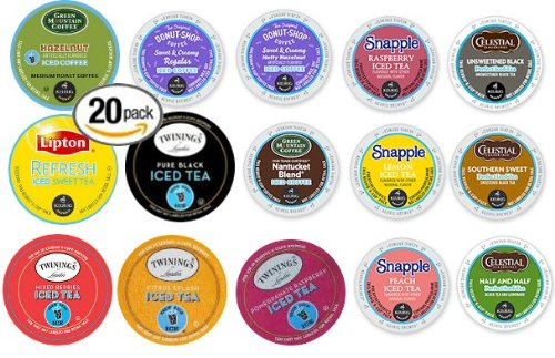 20-Count K-Cup For Keurig Brewers Iced Coffee And Iced Tea Variety Pack Featuring Green Mountain, The Original Donut Shop, Snapple, Lipton, Twinings, And Celestial Seasonings front-65290