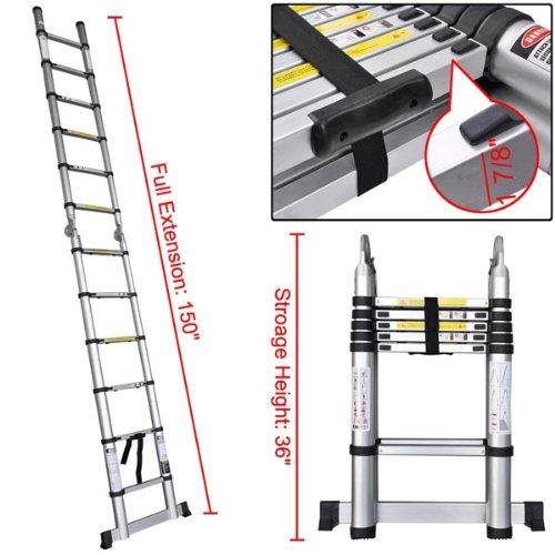 12.5ft Aluminum Extension Telescoping Ladder Heavy Duty Muliti Purpose Use A-type 330lbs