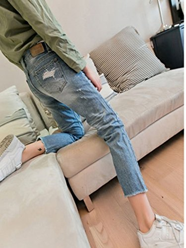 Happy FLL Womens Junior Casual Ripped Frayed Hem Skinny Ankle length Denim Jeans blue