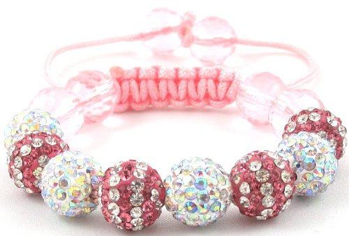 08-Ball Children Kids Girls Boys Petites Teen Double Row Pink White/Multi-White Bead Shamballa Bracelet with Pink Crystals on Pink String Ideal Gift for Christmas Birthdays