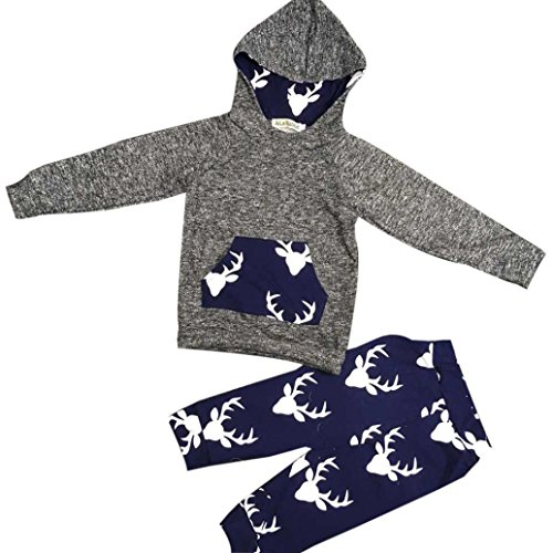 Gift!! 1Set Outfits Baby Boy Girl Clothes Elk Hoodie Hooded Tops Jacket +Pants (24M, Gray)