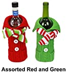 Christmas Sweater & Scarf Holiday Wine Bottle Covers - Red and Green - Set of 2