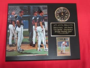 Atlanta Braves All Star Pitchers Collectors Clock Plaque w 8x10 Photo and Card by J & C Baseball Clubhouse