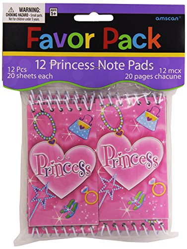 Amscan Princess Spiral Notepad (12 Piece), Pink, 4 x 2""