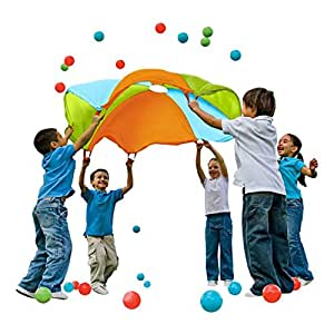 10 Ft. Diameter Parachute with Multi-Color Design and Eight Handles by K-Roo Sports