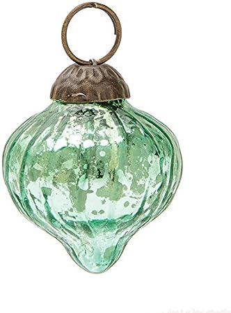 Mini Vintage Green Dotted Onion Design Mercury Glass Ornament by Luna Bazaar