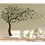 Pop Decors Removable Vinyl Art Wall Decals Mural, Tree Blowing in the Wind