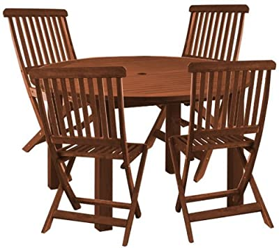 Set of 4 Saligna Hardwood Garden/Patio Chairs & Lindfield Round Table