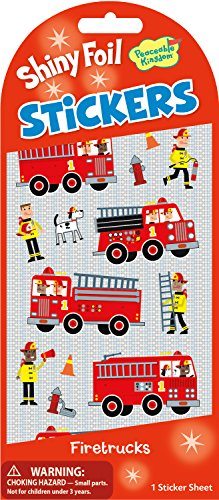 Peaceable Kingdom Shiny Foil Firetrucks Sticker Pack