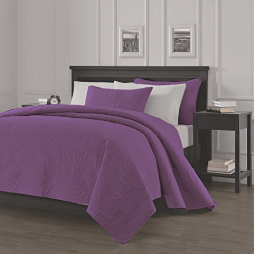 Chezmoi Collection Austin 3-piece Oversized Bedspread Coverlet Set (Queen, Purple) (Quilt Queen Purple compare prices)
