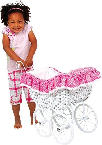 Puppenwagen Rosa mit weißem Korbgeflecht