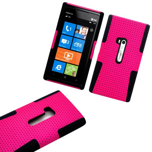 Mylife (Tm) Vibrant Rose Pink And Dark Matte Black Perforated Mesh Series (2 Layer Neo Hybrid) Slim Armor Case For The Nokia Lumia 920, 920.2, 920T And 920 4G Camera Smartphone By Microsoft (External Rubberized Hard Shell Mesh Piece + Internal Soft Silico