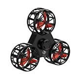 Bonitoys Tiny Toy Drone Interactive Games Outdoor,Handheld Flying Fidget Spinner Rotation Triangle Toys For Kids Adult Black (Color: black)