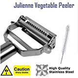 Julienne Vegetable Peeler to Make Healthy Zucchini Noodles ★ Premium Quality Tool ★ Now Includes Free Specialized Cleaning Brush