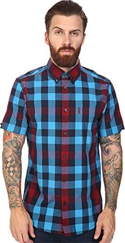 ben-sherman-mens-short-sleeve-oversized-mixed-gingham-woven-vivid-blue-button-up-shirt-xl