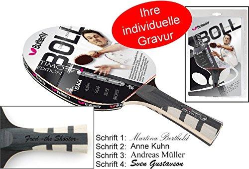 Timo Boll Black Tischtennisschläger Butterfly Edition 2014 mit Geschenk Gravur