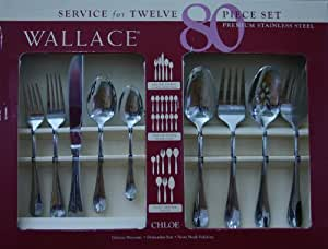 Wallace 80 Piece Stainless Steel Flatware Set Service for 12 Plus 12 Extra Serving Pieces