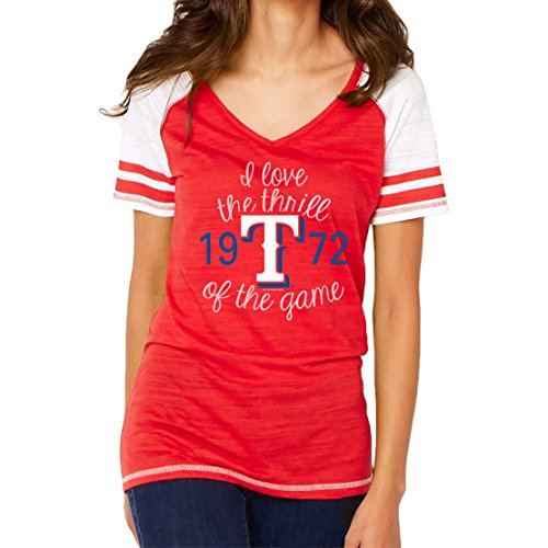MLB Texas Rangers Women's Color Block Tee, Small, Red (Texas Rangers Shirts Women compare prices)