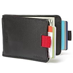 Distil Union Wally Bifold Slim Leather Wallets for Men - Money Clip, Credit Card Holder, Billfold (Ninja Black)