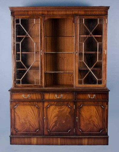 Buy Antique Mahogany Triple Bookcase w Adjustable Shelves B004XIN2LO