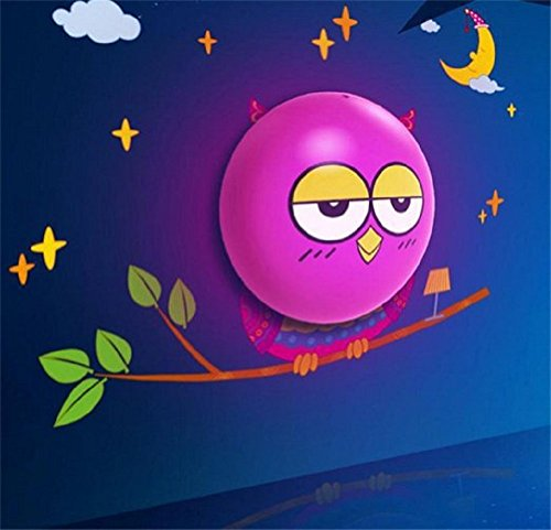 HOCN DIY 3D Wallpaper light sensor Cartoon Wall Lamp Wall Stickers Home Room Decor Decoration LED Night Light Lamp for Kids' Bedroom (owl)