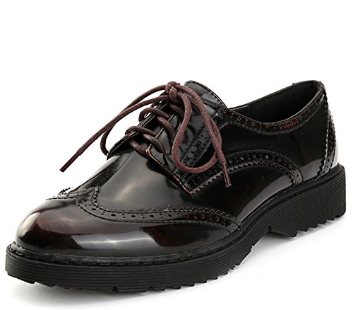Alexis Leroy Women's Classic Wingtip Cut Out Oxford Flats Brown 38 M EU / 7-7.5 B(M) US