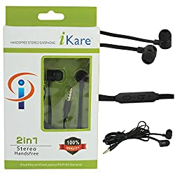 iKare Deep Sound Handsfree Earphones Headset with Volume Control for Apple iPhone/iPad/Mobiles/Tablets/Nokia/Micromax