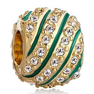 Pugster Aquamarine Stripes Clear White Crystal Golden Beads Gift Fits Pandora Charm Bracelet