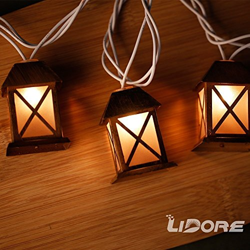 LIDORE Set of 10 Warm White Glow Bronze Metal House Shaped Lantern Plug-in String Light - For indoor/outdoor 0