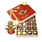 Chocholik Belgium Chocolates - 20pc Milk And White Chocolate Treat With Ganesha Idol - Diwali Gifts