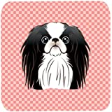 "Caroline's Treasures BB1230FC Checkerboard Pink Japanese Chin Foam Coaster (Set Of 4), 3.5"" H X 3.5"" W, Multicolor"